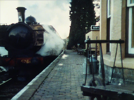 Carries' War - episode one - the evacuees' train races through a station (Hampton Loade)