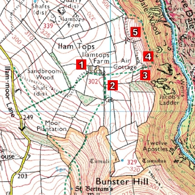 Map of Mad Dog filming locations in Ilam, Derbyshire