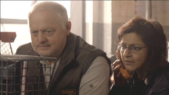 Robert Pugh (as Tony Mack) and Meera Syal (as Nasreen Chaudhry) in Doctor Who episode 'The Hungry Earth'