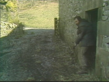 Charles rushes from the barn